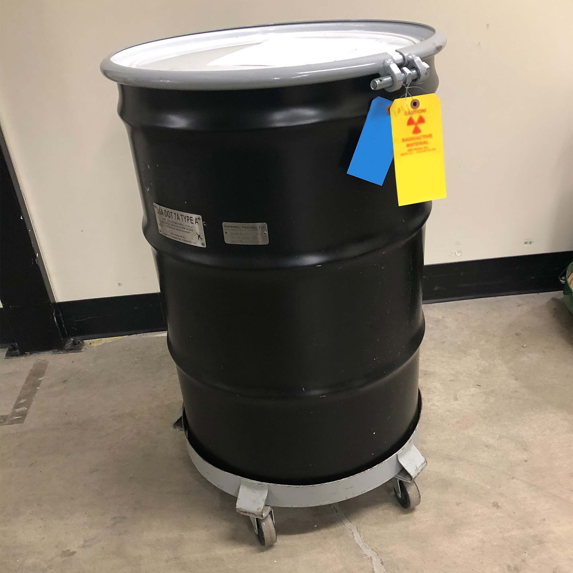 55 gallon container to hold multiple AmBe sources.